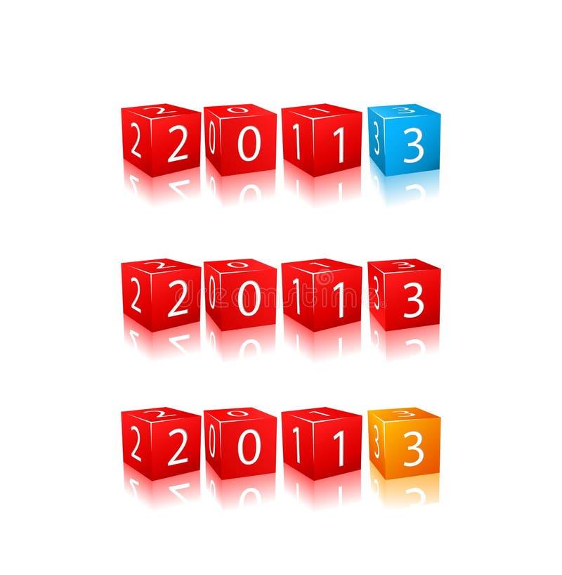 I nuovi numeri di 2013 anni sui cubi 3d royalty illustrazione gratis