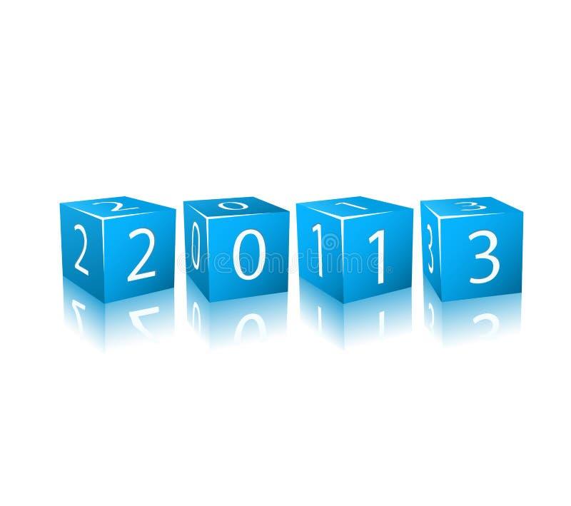 I nuovi numeri di 2013 anni sui cubi blu 3d illustrazione vettoriale