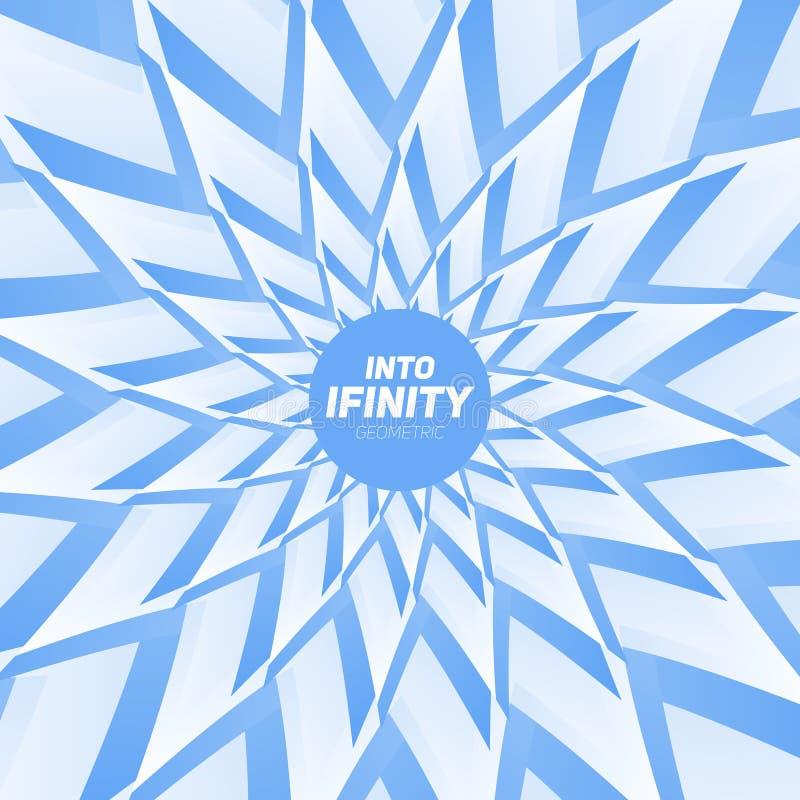 In i oändlighetsgeometri Abstrakt geometrisk koncentrisk blåttvirvelbakgrund Havsskal som strukturer royaltyfri illustrationer