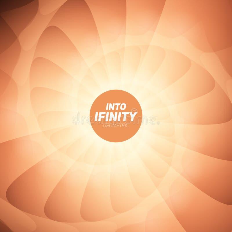In i oändlighetsgeometri Abstrakt geometrisk koncentrisk orange virvelbakgrund Havsskal som strukturer stock illustrationer