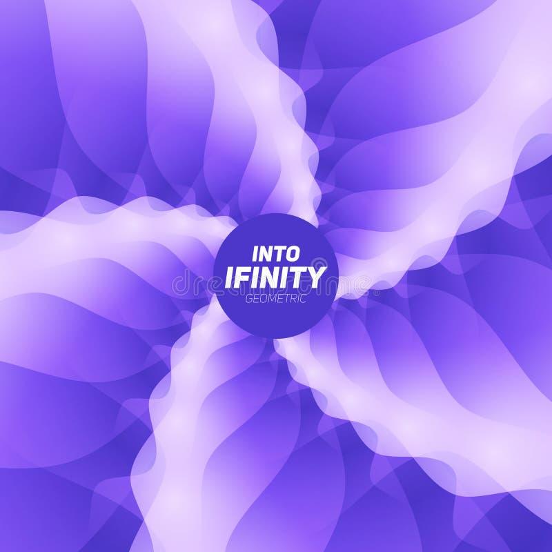 In i oändlighetsgeometri Abstrakt geometrisk koncentrisk violett virvelbakgrund Havsskal som strukturer vektor illustrationer