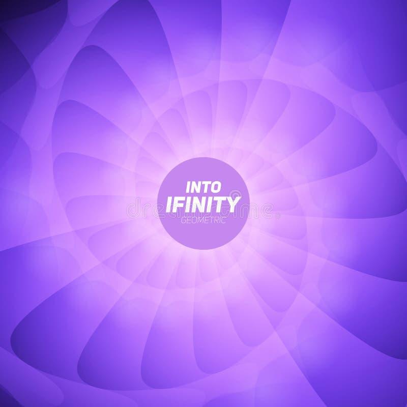In i oändlighetsgeometri Abstrakt geometrisk koncentrisk violett virvelbakgrund Havsskal som strukturer royaltyfri illustrationer