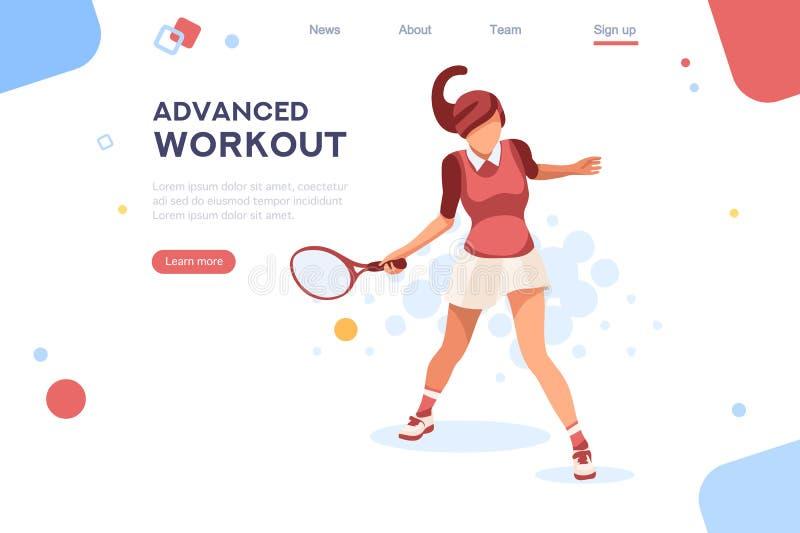I Olympics hanno fissato giocar a tennise della sportiva illustrazione vettoriale
