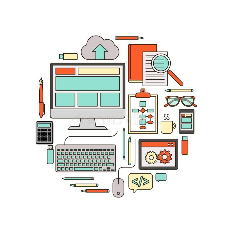 IT i oprogramowania rozwija narzędzia ilustracja wektor