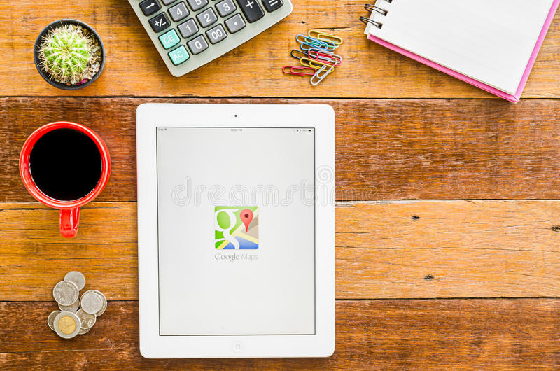 I pad 4 open google map apps. stock image