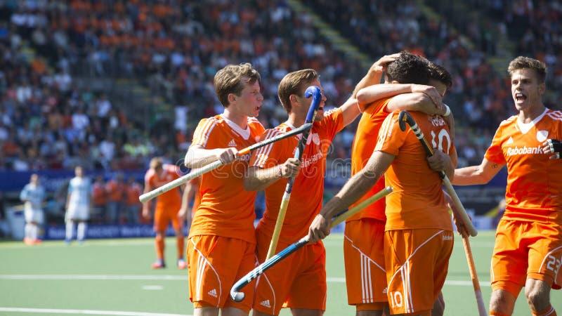 I Paesi Bassi battono Argentinia durante la coppa del Mondo 2014 dell'hockey immagine stock