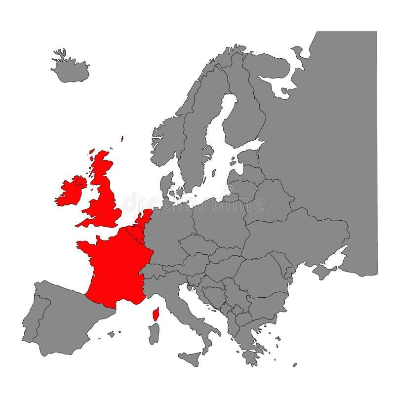 I paesi di Europa occidentale tracciano - la regione del continente europeo royalty illustrazione gratis