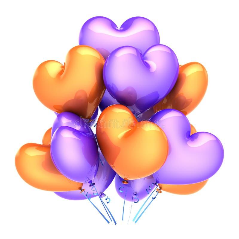 I palloni del cuore amano la porpora arancio della decorazione di compleanno del partito illustrazione di stock