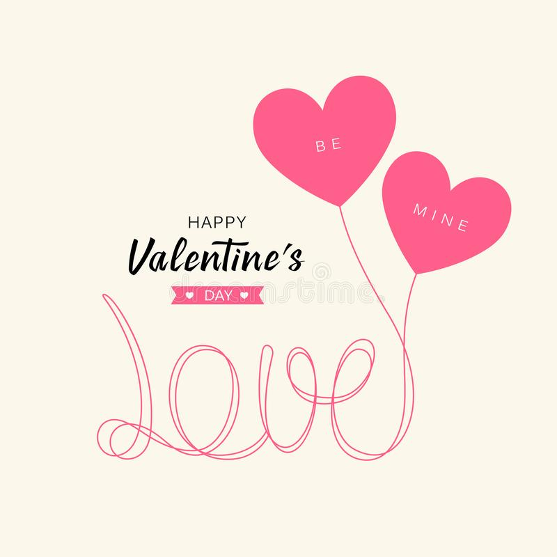 I palloni del cuore amano la progettazione di massima felice di San Valentino del messaggio royalty illustrazione gratis