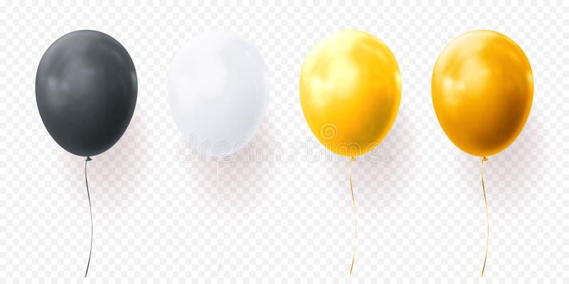 I palloni variopinti vector il baloon nero realistico lucido del fondo trasparente per la festa di compleanno royalty illustrazione gratis