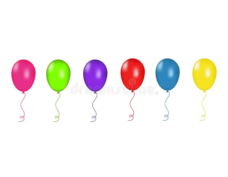 I palloni verdi e porpora e rossi, blu e gialli di rosa, hanno isolato Illustrazione di vettore