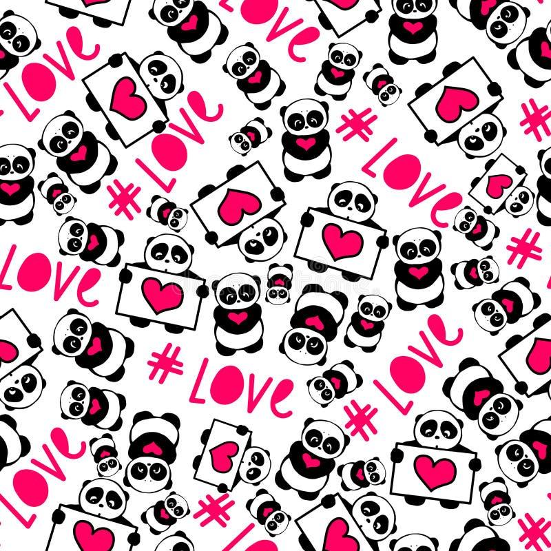 I panda disegnati a mano svegli e divertenti con tipografia di amore dei cuori progettano il vettore senza cuciture del modello illustrazione di stock
