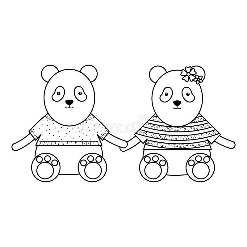 I panda svegli degli orsi coppia i caratteri puerili illustrazione vettoriale