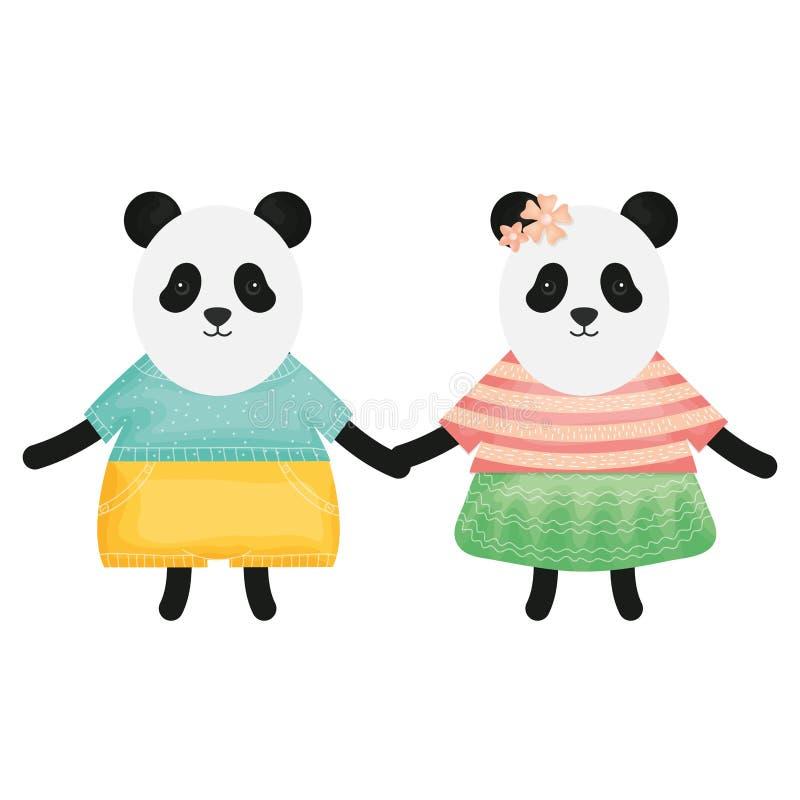 I panda svegli degli orsi coppia i caratteri puerili illustrazione di stock