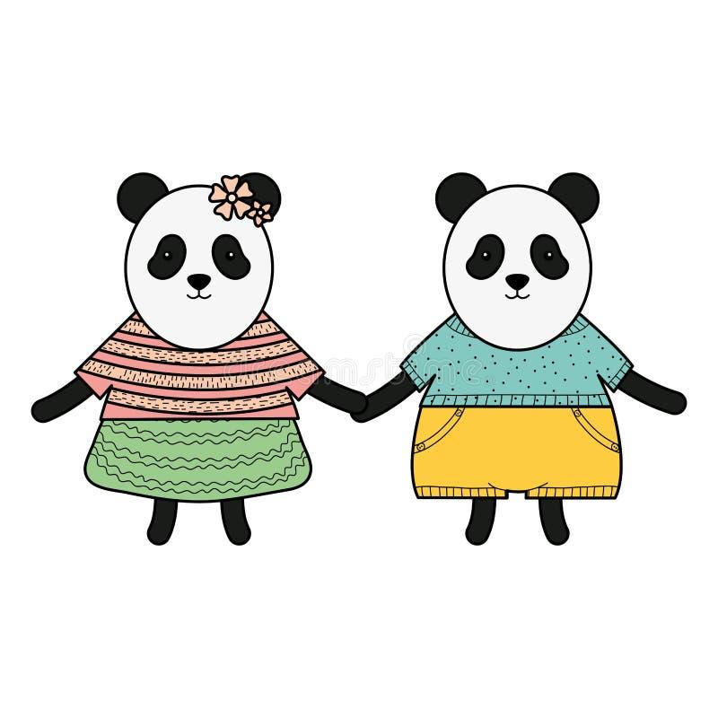I panda svegli degli orsi coppia i caratteri puerili royalty illustrazione gratis