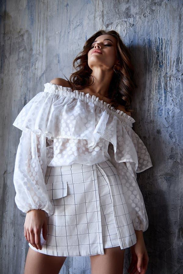 I pantaloni castana della blusa di usura di trucco dei capelli del bello della donna di modo modello sexy del fascino scarni mett fotografia stock
