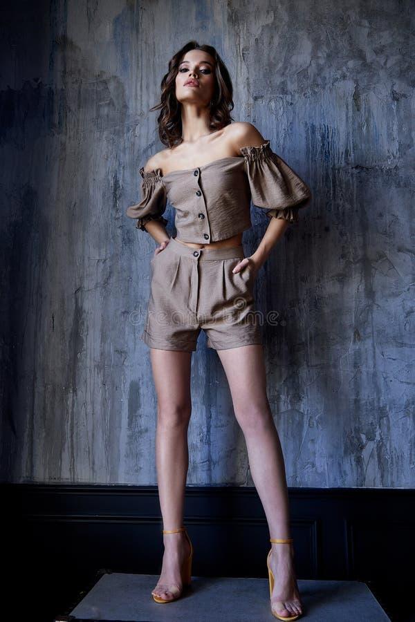 I pantaloni castana della blusa di usura di trucco dei capelli del bello della donna di modo modello sexy del fascino scarni mett fotografia stock libera da diritti