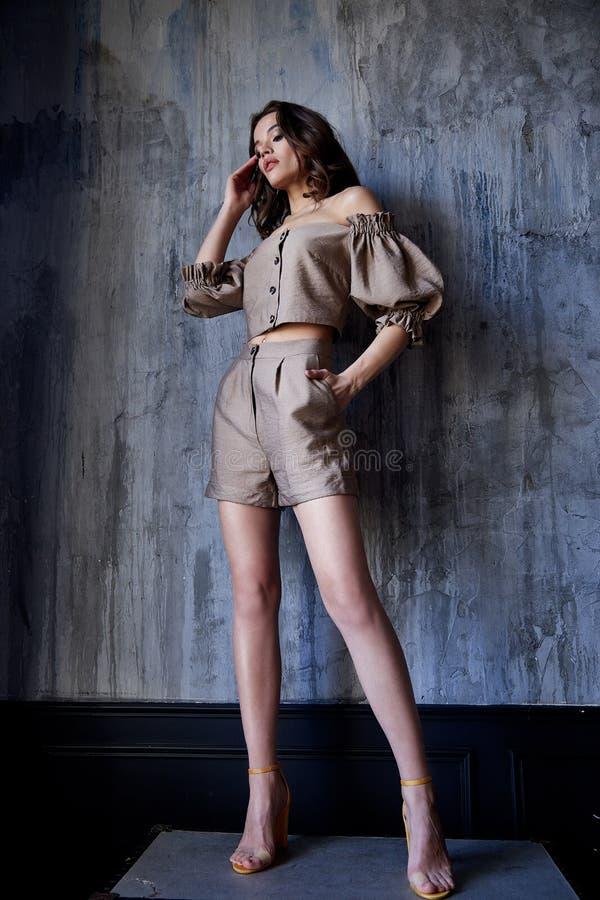 I pantaloni castana della blusa di usura di trucco dei capelli del bello della donna di modo modello sexy del fascino scarni mett immagini stock libere da diritti