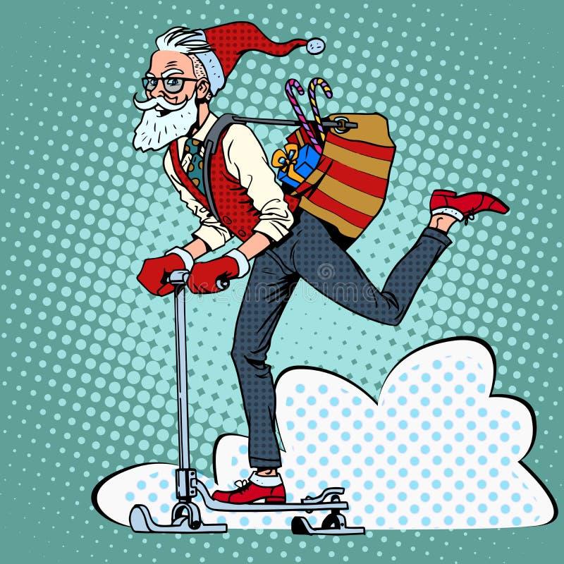 I pantaloni a vita bassa Santa Claus spandono i regali di Natale sopra illustrazione di stock