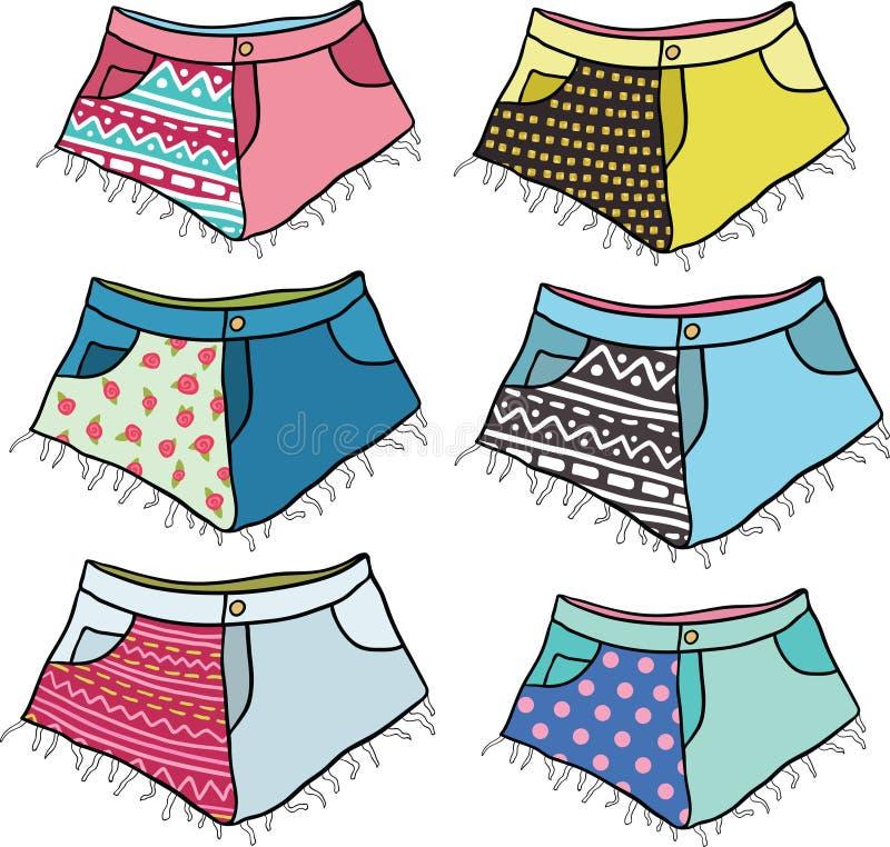 I pantaloni a vita bassa svegli del fumetto hanno fissato gli shorts fissati. royalty illustrazione gratis