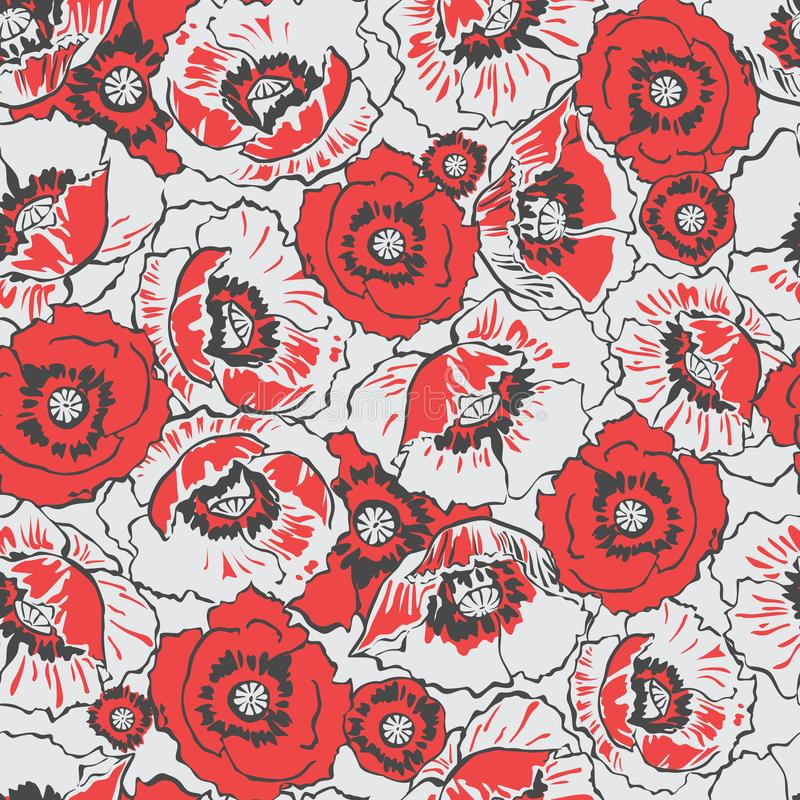 I papaveri rossi fioriscono il modello senza cuciture del prato su Grey Backgro leggero illustrazione vettoriale