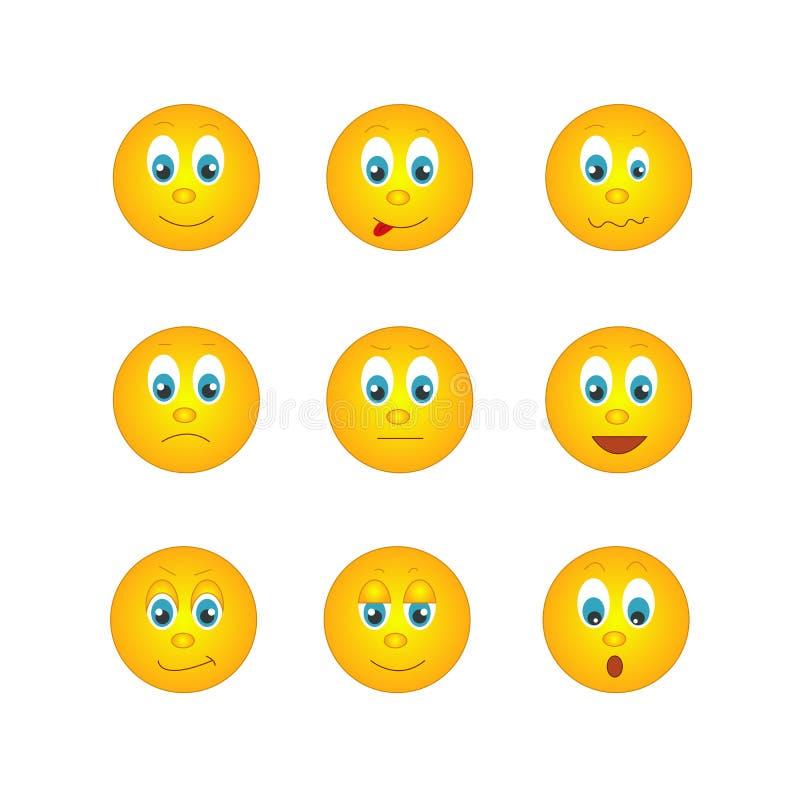 I parecchi emoticon gialli rotondi con differenti emozioni illustrazione vettoriale