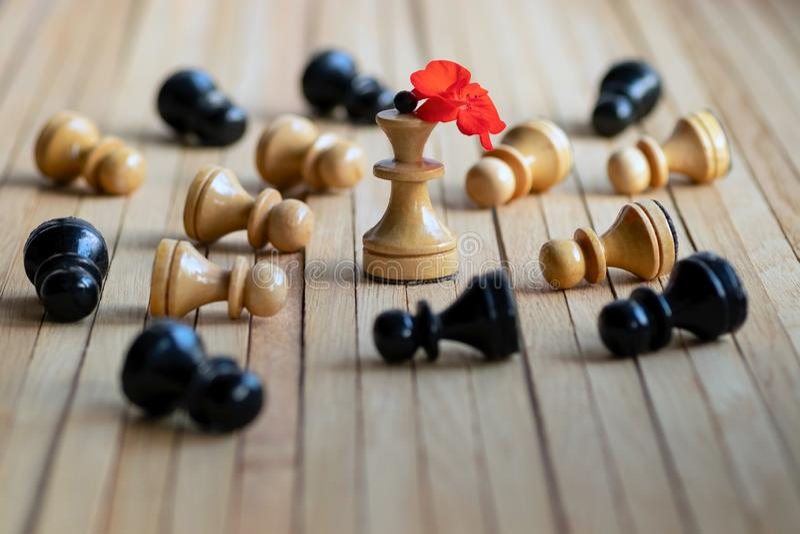 I pegni dei pezzi degli scacchi si trovano curvatura prima della figura della regina con il fiore rosso del geranio Concetto astr immagini stock