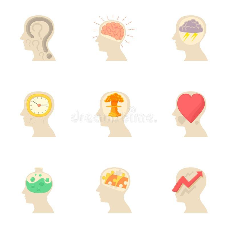 I pensieri nelle mie icone cape hanno messo, stile del fumetto illustrazione di stock