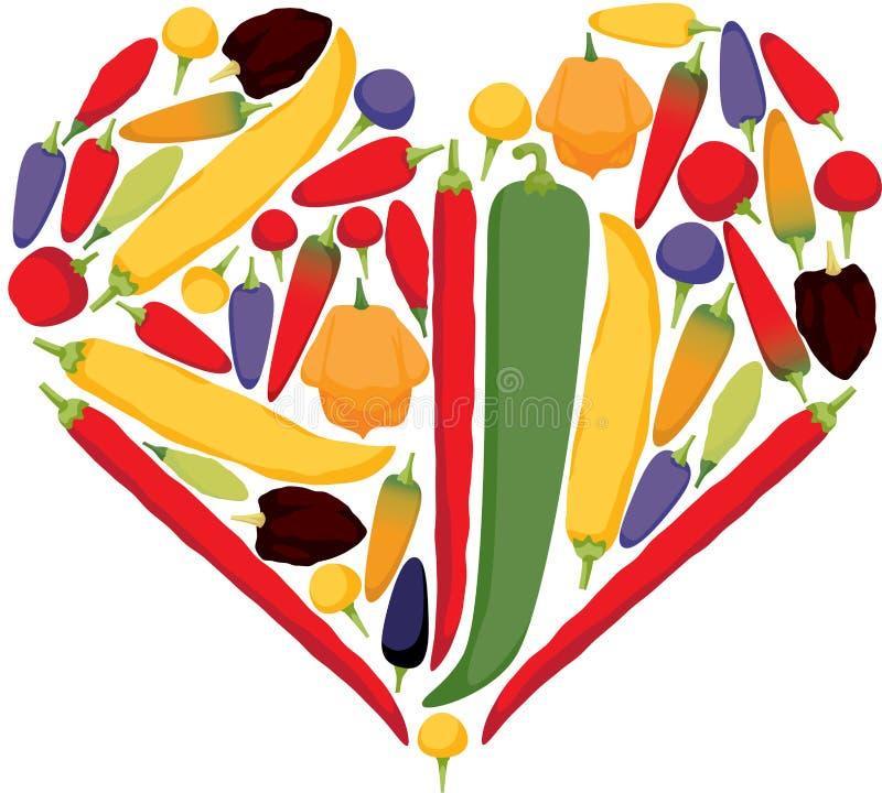 I peperoncini del cuore fotografie stock