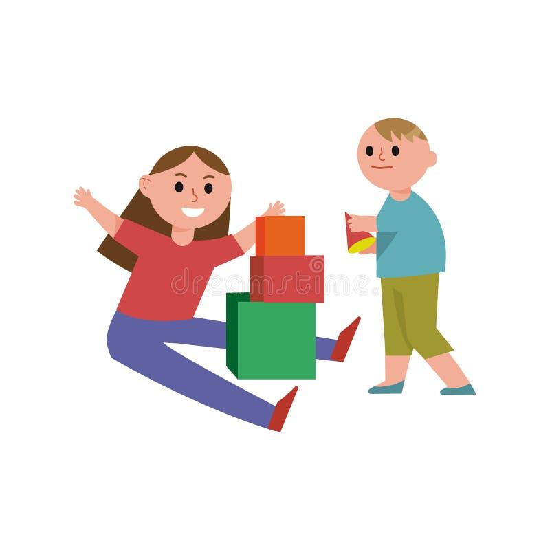I personaggi dei cartoni animati, il fratello e la sorella felici delle particelle elementari del gioco di bambini giocano insiem illustrazione di stock