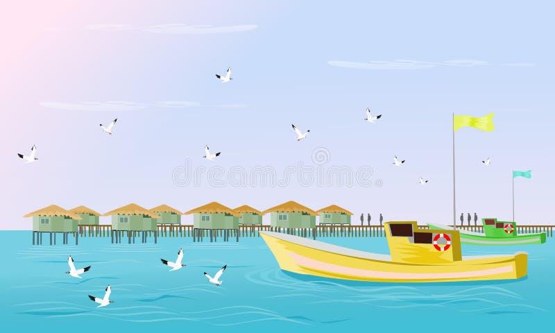 I pescherecci stanno navigando nel mare con i gabbiani che volano là è un paesino di pescatori nei precedenti illustrazione di stock