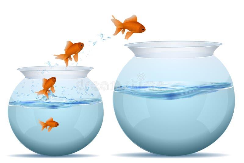 I pesci che saltano dall'acqua illustrazione vettoriale