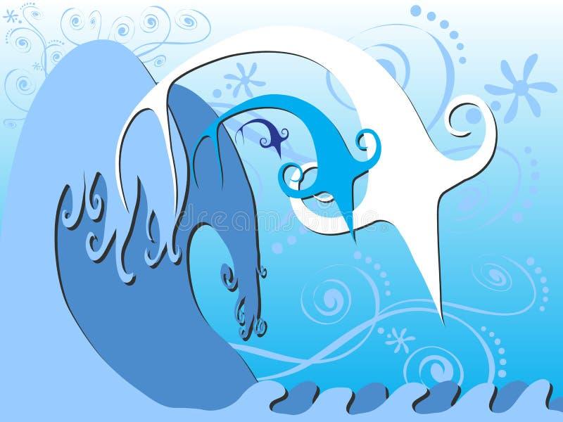 I pesci che saltano nella grande arte delle onde illustrazione di stock