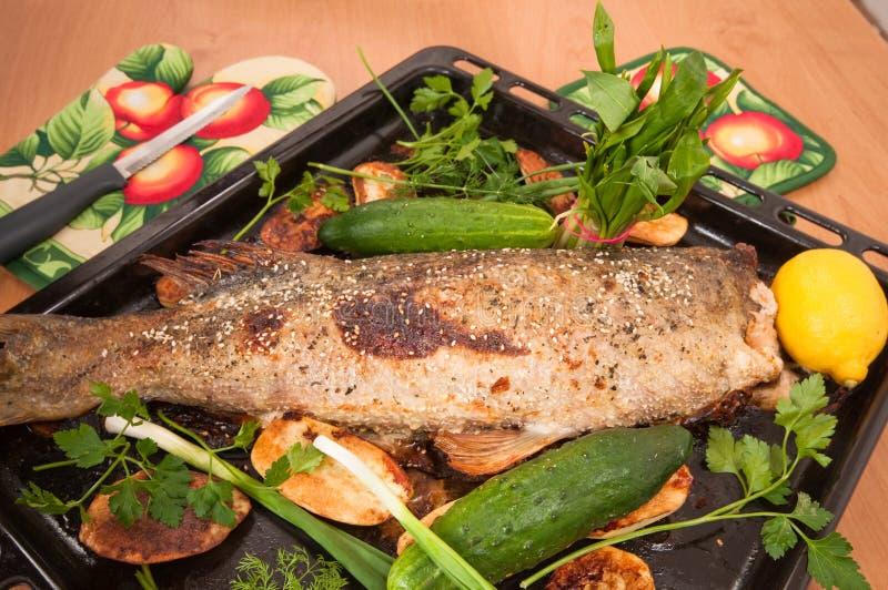 I pesci hanno cotto in un forno. fotografie stock
