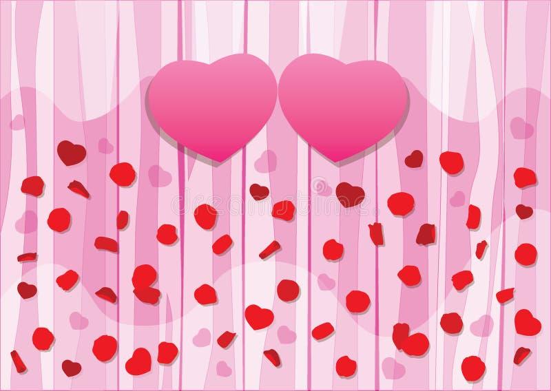 I petali di Rosa rosa del cuore progettano e biglietto di S. Valentino su fondo rosa di legno illustrazione vettoriale