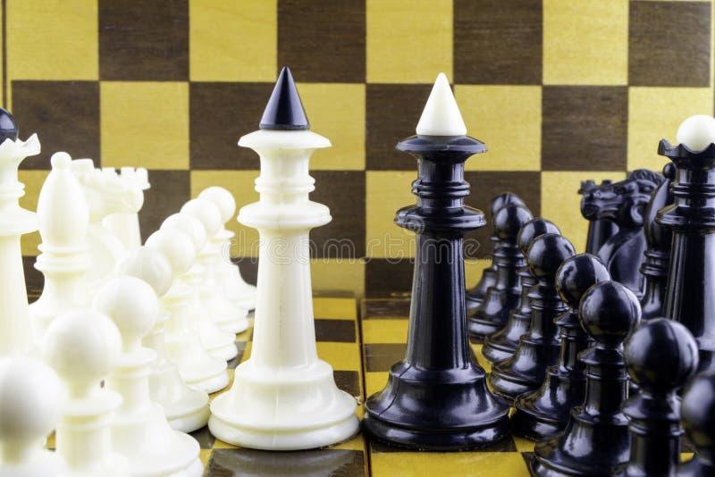 I pezzi degli scacchi stanno di fronte ad a vicenda, re in un centro fotografia stock libera da diritti
