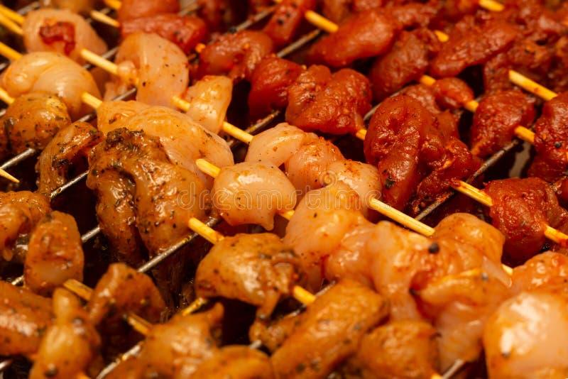 I pezzi del pollo della carne del modello rinforzano il fondo piccante piccante condito del curry della paprica culinario fotografia stock libera da diritti