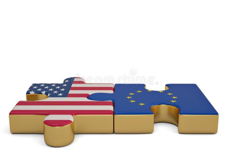 I pezzi di puzzle collegano un pezzo che contiene la bandiera di Unione Europea illustrazione vettoriale