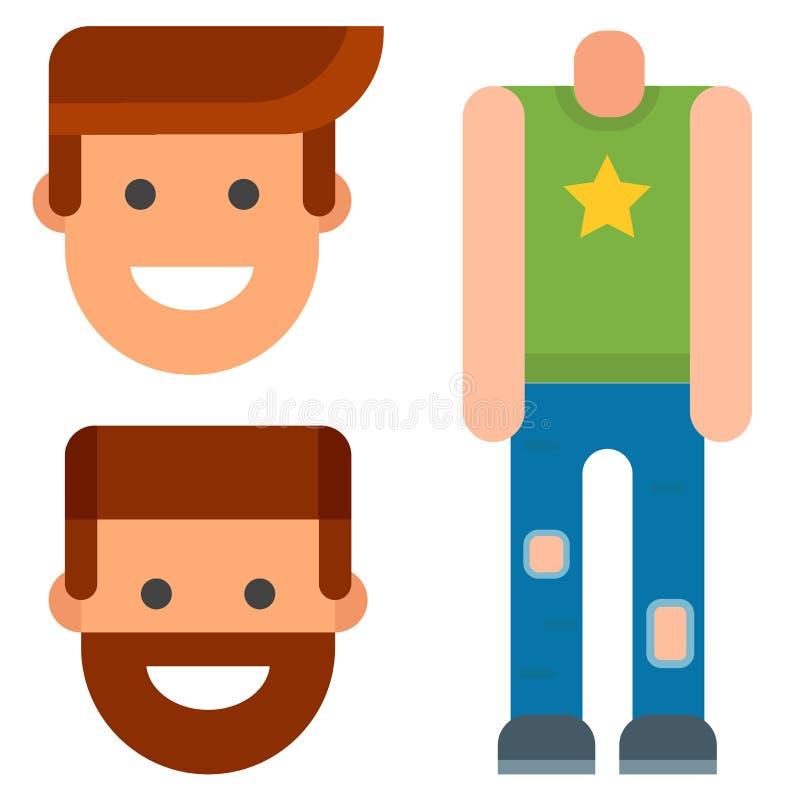 I pezzi di ricambio della creazione del personaggio dei cartoni animati di vettore del creatore dell'avatar del corpo del costrut royalty illustrazione gratis