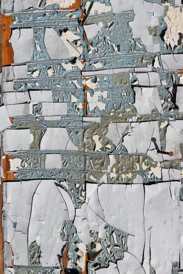 I pezzi incrinati della pittura su una vecchia tettoia rurale invecchiata di legno sorgono immagine stock