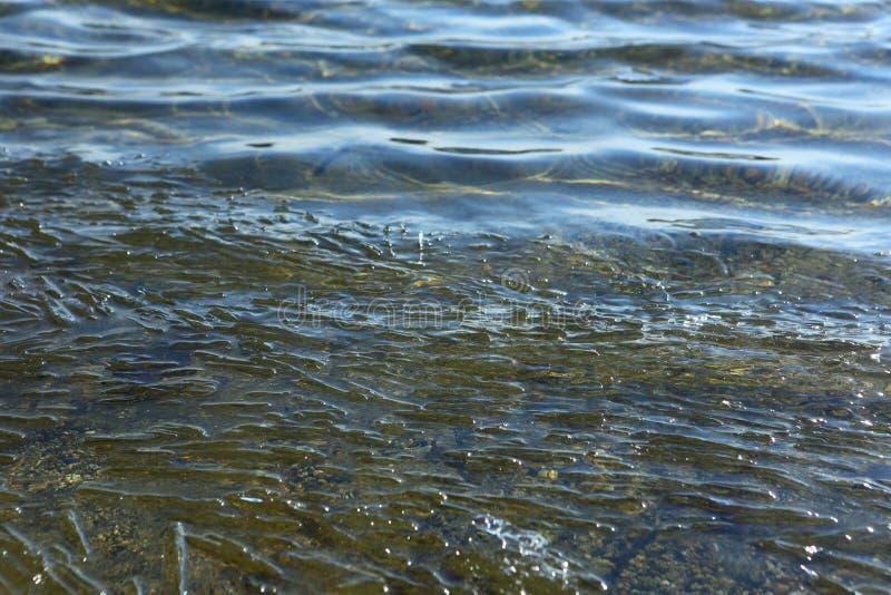 I pezzi restanti di ghiaccio stanno galleggiando nell'acqua fotografia stock