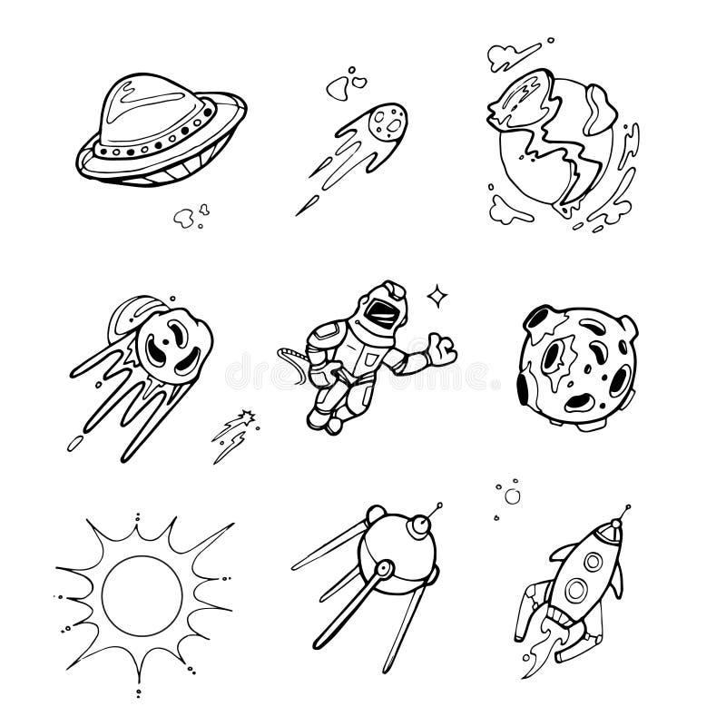 I pianeti, razzi, astronavi, UFO, stelle, astronauta, vettore straniero hanno messo nello schizzo royalty illustrazione gratis