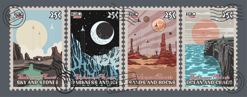I pianeti sconosciuti hanno messo dei francobolli illustrazione di stock