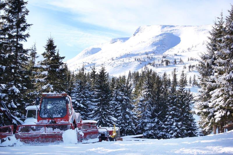 I picchi e le colline di montagna con gli alberi hanno riparato la neve immagini stock