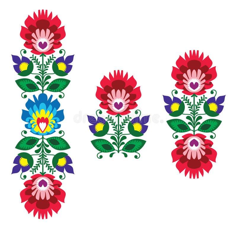 Ricamo piega - modello polacco tradizionale floreale royalty illustrazione gratis