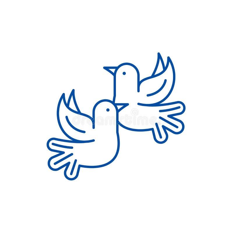 I piccioni allineano il concetto dell'icona Simbolo piano di vettore dei piccioni, segno, illustrazione del profilo illustrazione di stock
