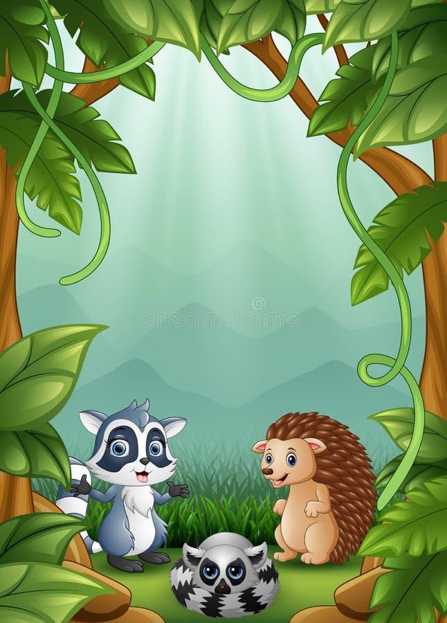 I piccoli istrici e procioni sono felici nella foresta illustrazione di stock