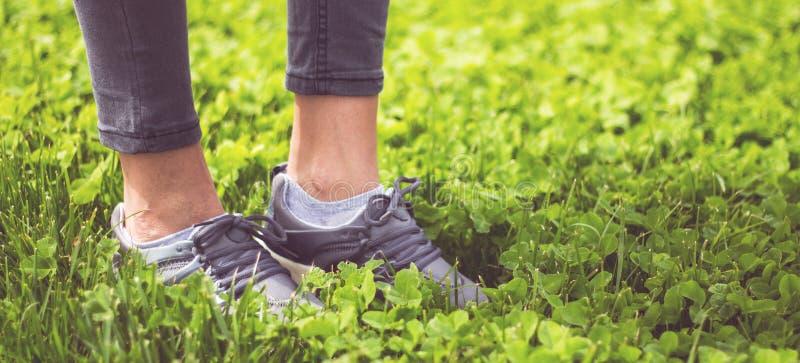 I piedi della ragazza nello sport calza le scarpe da tennis su erba verde sul prato fotografia stock