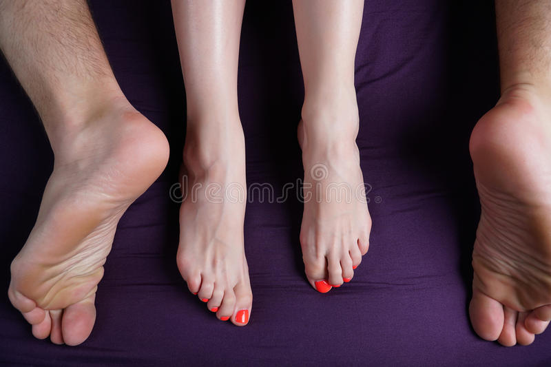 I piedi femminili e maschii si trovano su uno strato viola Gli amanti fanno sesso immagini stock libere da diritti
