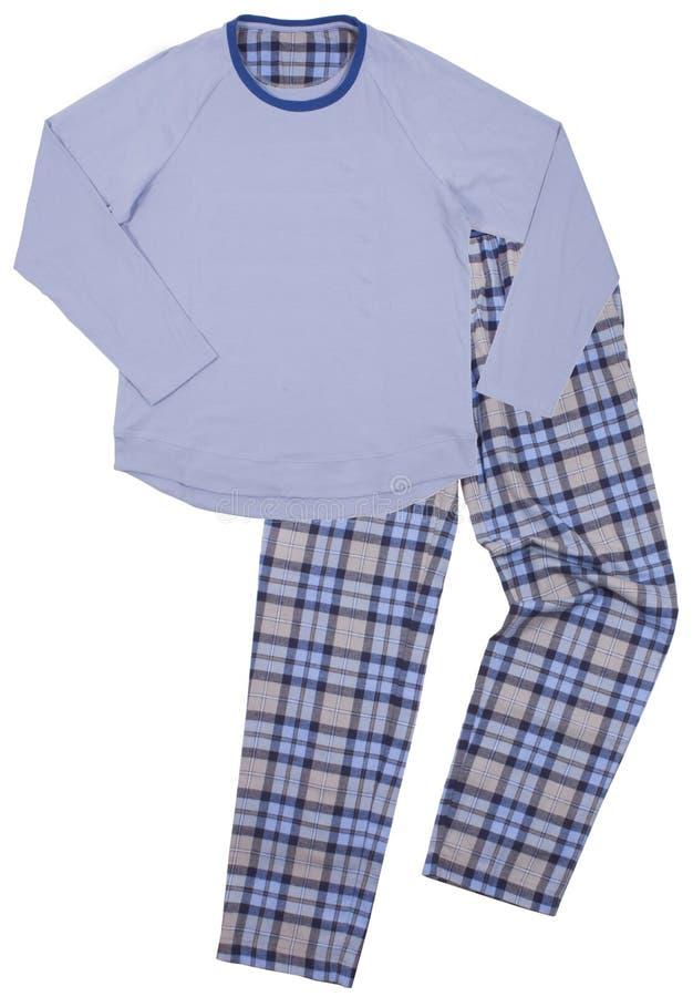 I pigiami dei bambini blu Isolato su un bianco immagine stock libera da diritti